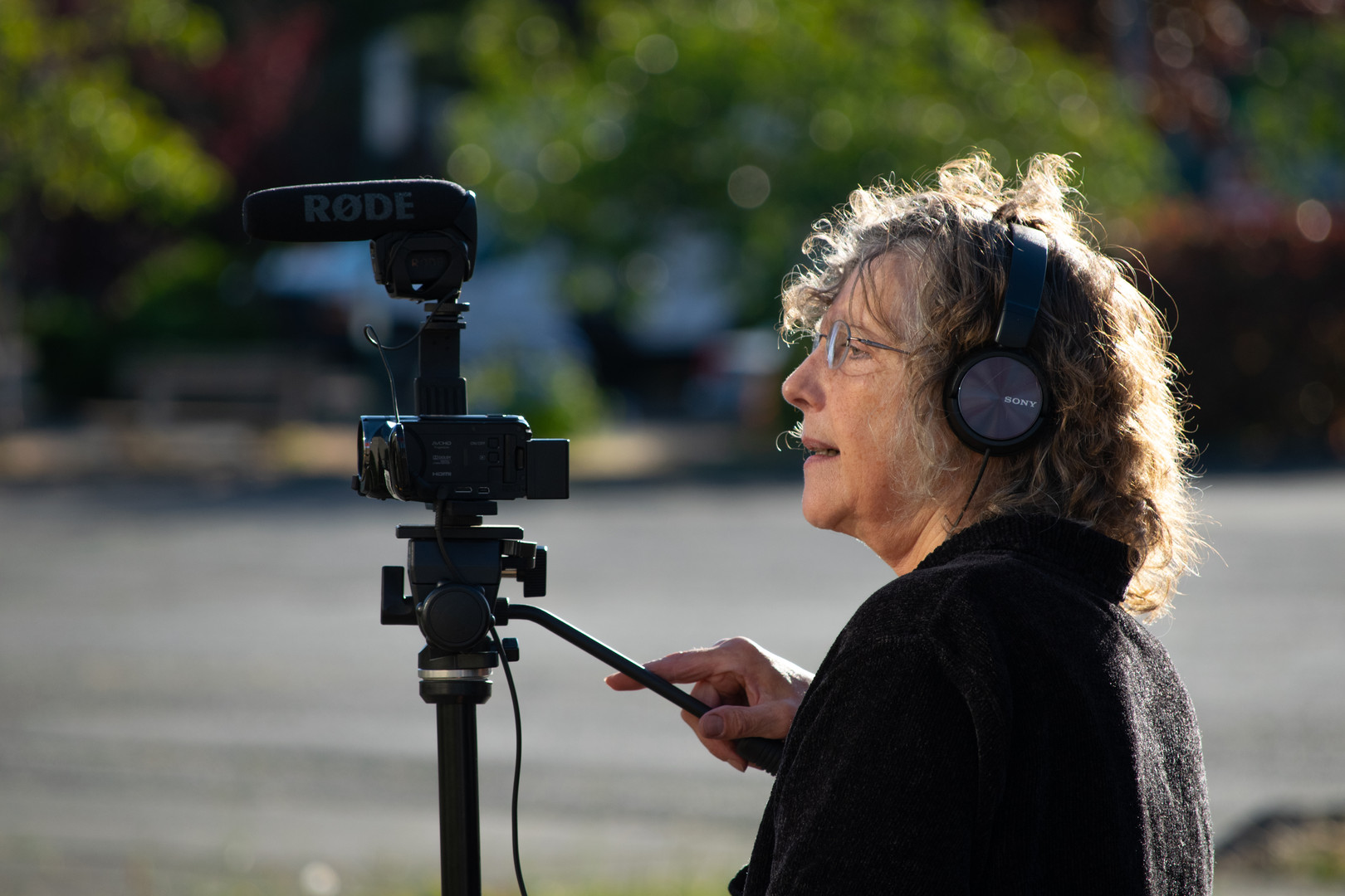 One of Eero Johnson's film student's zooms in on teammates acting for a recent assignment. Johnson, not pictured, created EJ Visuals to offer video production classes and video education opportunities to Bellingham residents of all kinds.