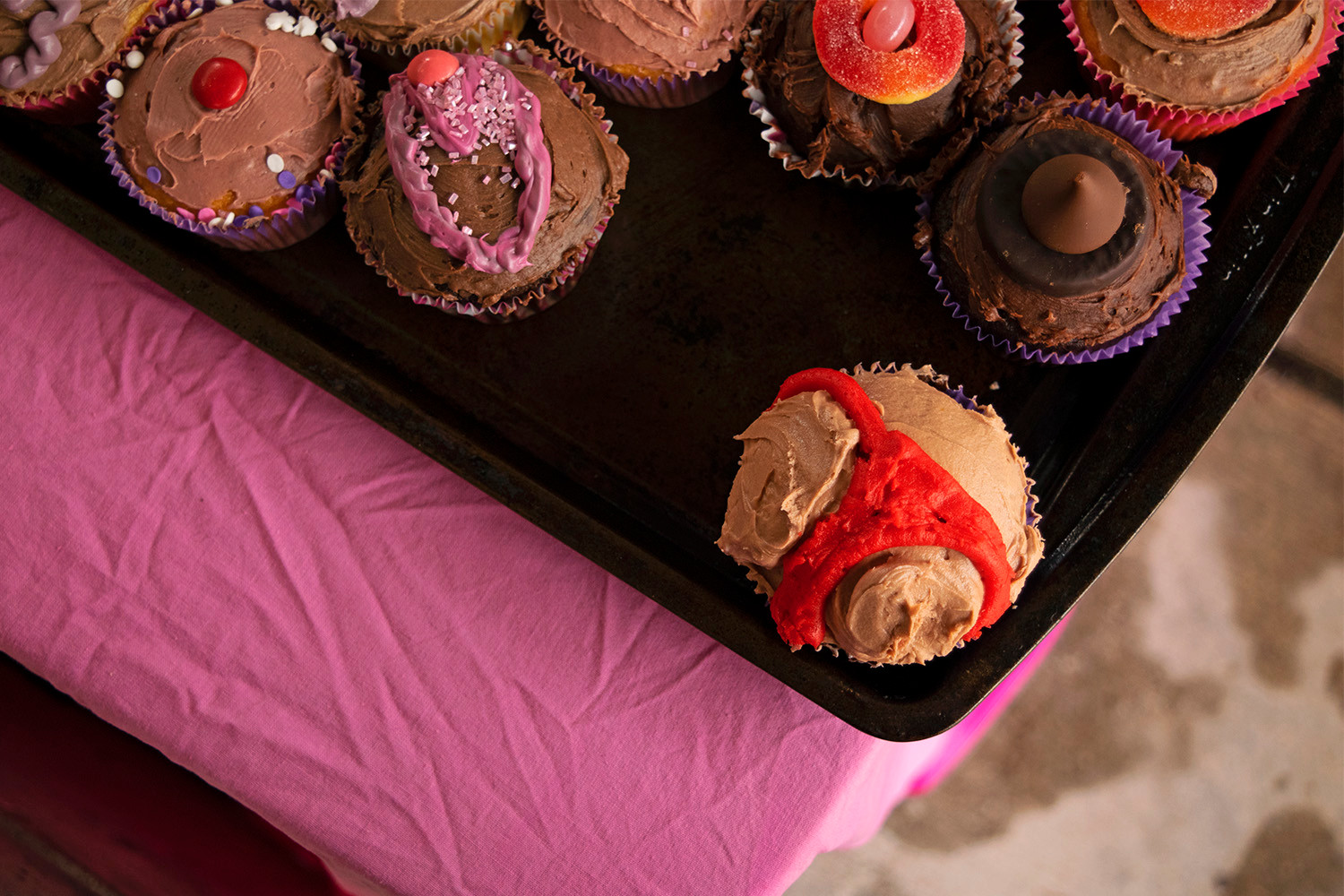 Cupcakes sold as part of a Valentines Day fundraiser hosted by the Planned Parenthood Generation WWU club. Western Washington University, Bellingham, WA. February 14, 2018.