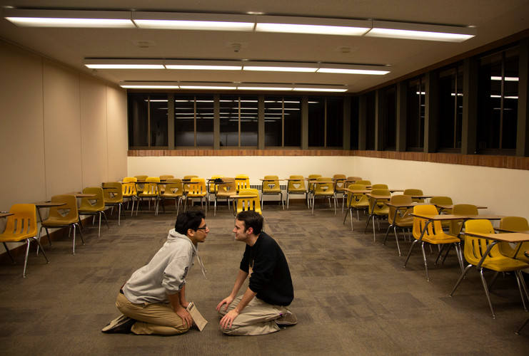 Student Director Jay Chavez, (left) works through a scene study with an actor performing in the next play they'll direct, called Snapshot. Western Washington University, Bellingham, WA. 2018.
