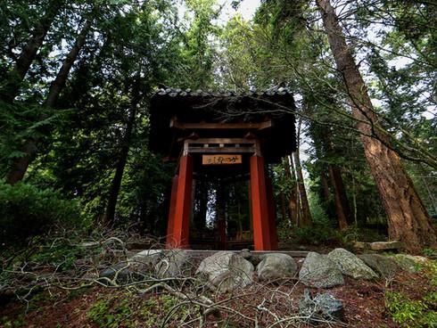 The Big Rock Pagoda Korean War memorium piece stands in the center of Big Rock Garden Park. Bellingham. WA. 2018.