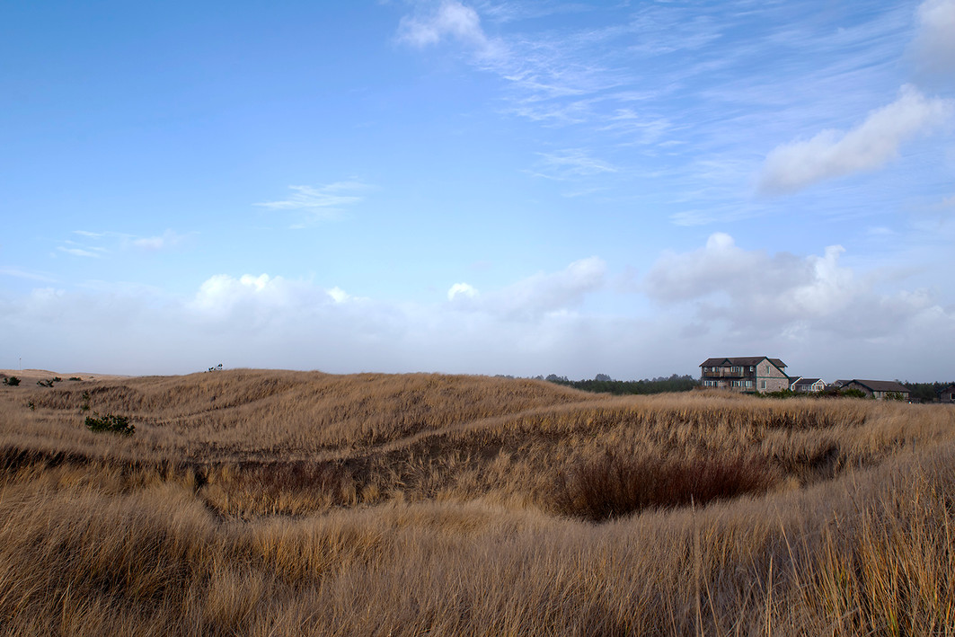 The wide plains of Long Beach stretching to one of the few residences that line the shore. Long Beach, Washington. 2019.
