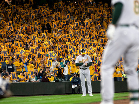 The fans of famous Mariners pitcher King Felix show their support with one-of-a-kind towels given to them as they entered the baseball game. September 27, 2019. Seattle, WA.