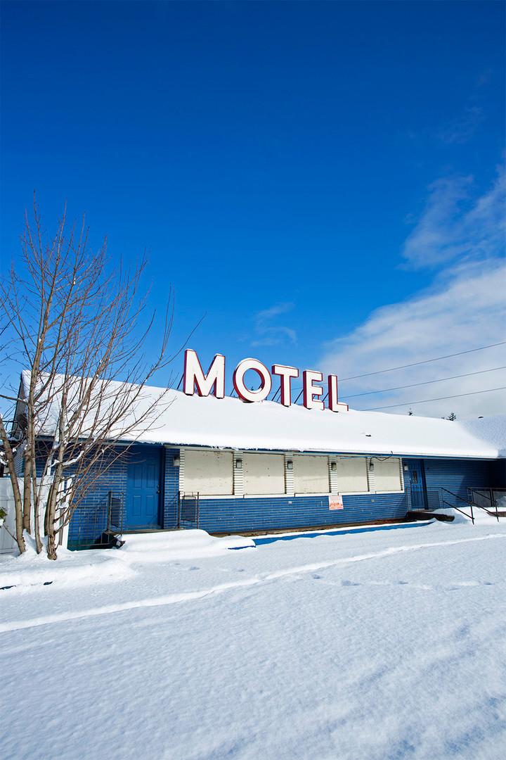 MAC's Motel on a bright winter day. Bellingham, WA. 2018.
