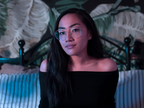 Kristina Rivera poses in her room for an Editor in Cheif portrait of Klipsun Magazine. 2019.