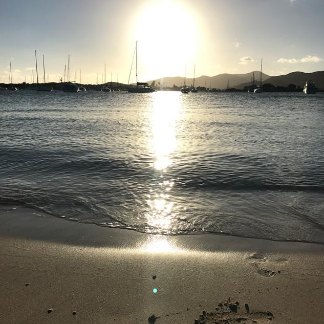 Sunset over Trellis Bay from the far shore