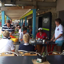 Busy deck at breakfast