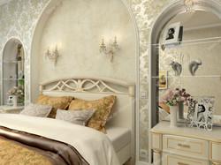 Фигурные арки у изголовья кровати