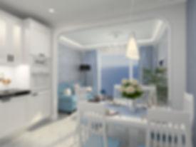 кухня в морском стиле, гостинная в морском стиле, голубая, классическая кухня, большое окно