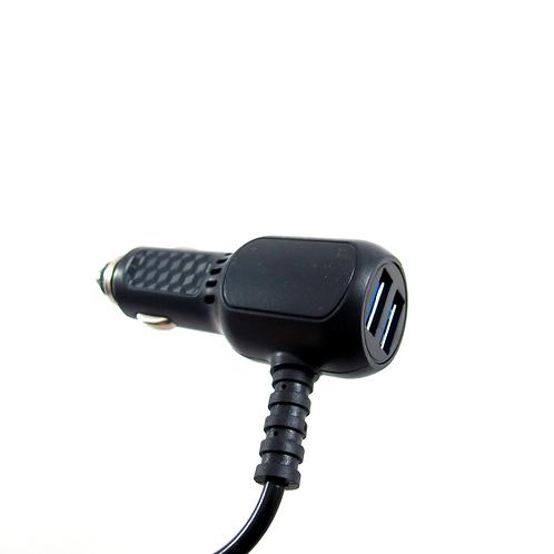 Автомобильный адаптер на 2 USB-выхода с кабелем Micro USB и Apple lighting USB