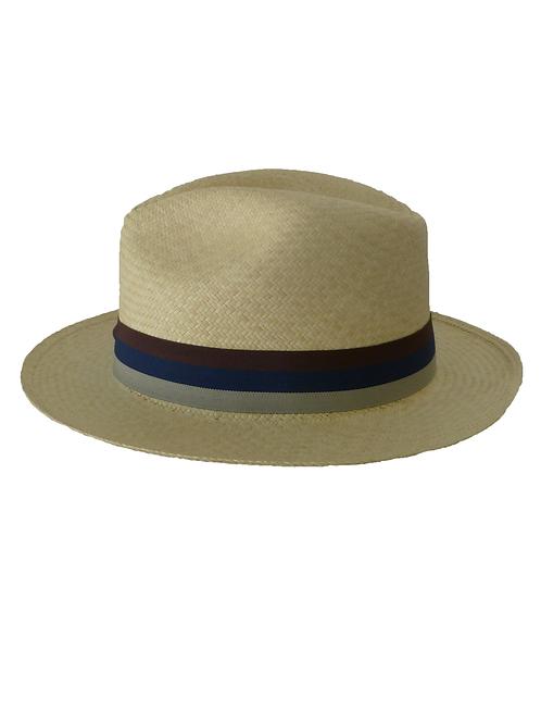 Sombrero rayas marrón, azul y beige