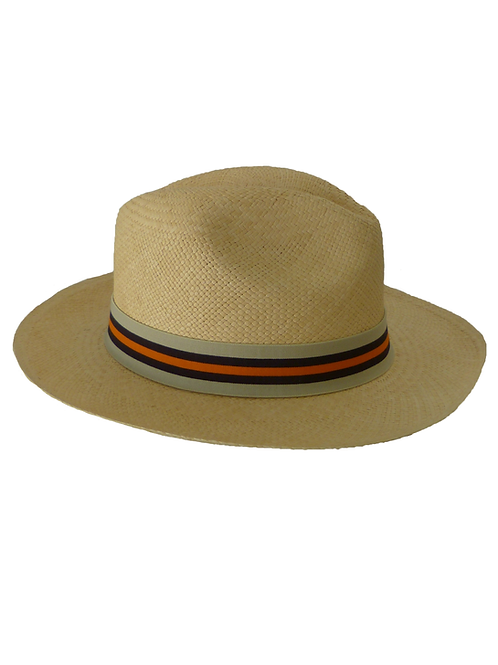 Sombrero rayas beige, azul y naranja