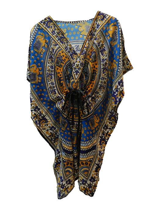 Kaftan Azul y Amarillo Elefantes Yasmin