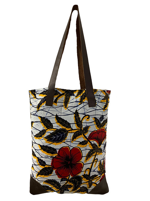 Bolsa de Tela y Cuero de Flores Vicky