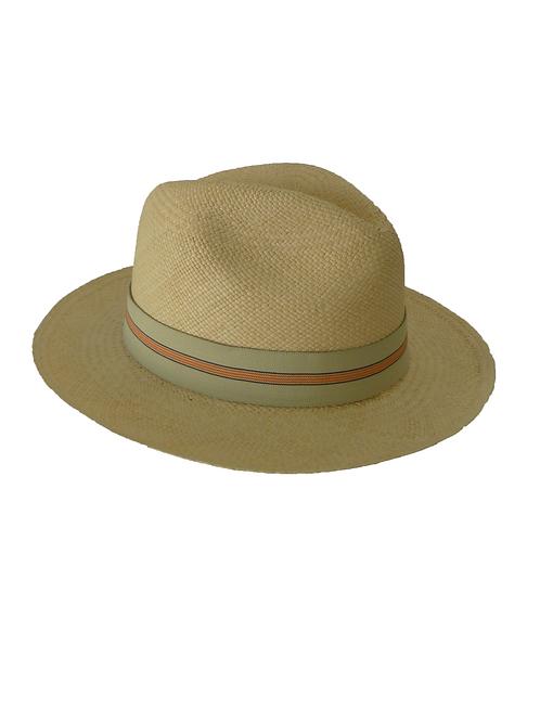 Sombrero rayas beige y naranja