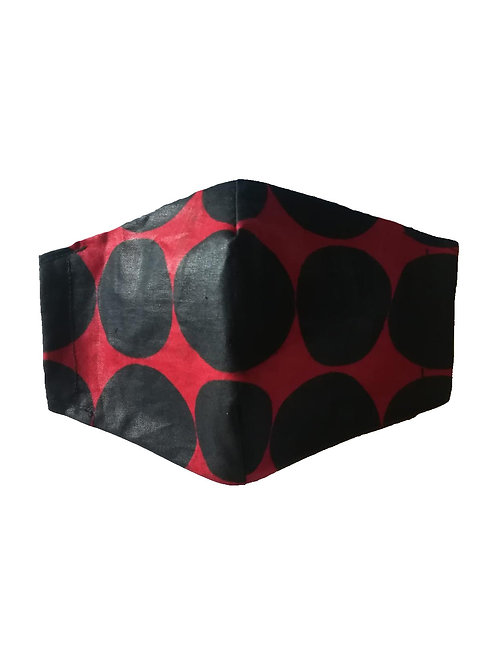 Mascarilla Tela Lisa Roja Lunares Negros