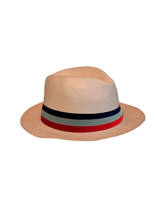Sombrero blanco cinta multicolor