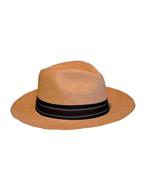 Sombrero beige cinta rayas negra y roja