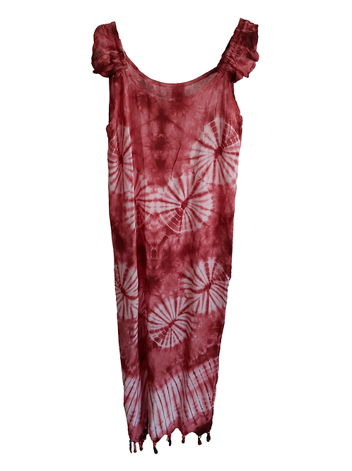 Vestido largo tirantes rojo