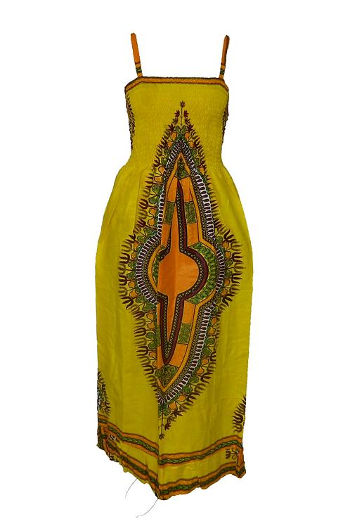 Vestido largo tirantes amarillo Turan
