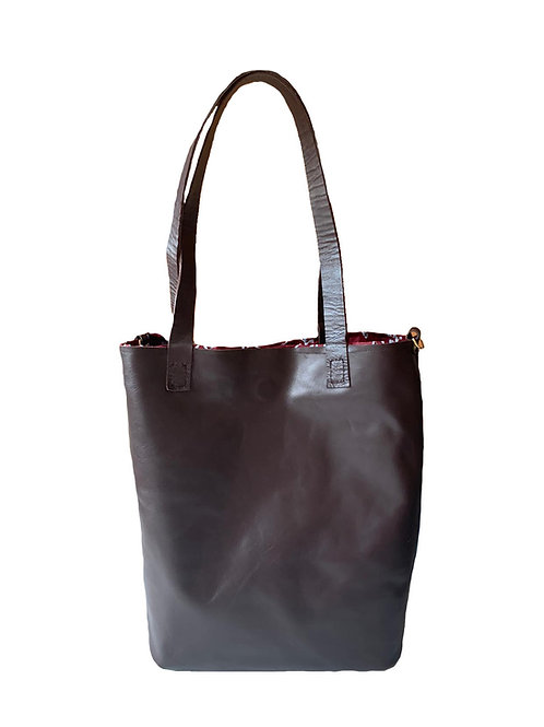 Bolso de Cuero Marron Chocolate Aida Reversible
