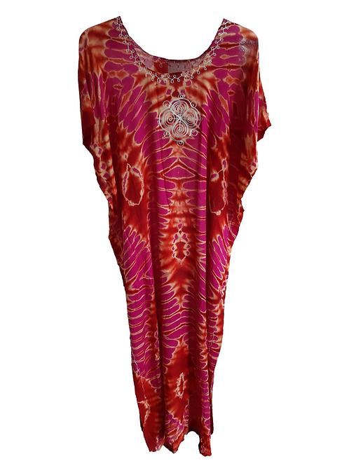 Vestido largo manga corta rosa Seyen