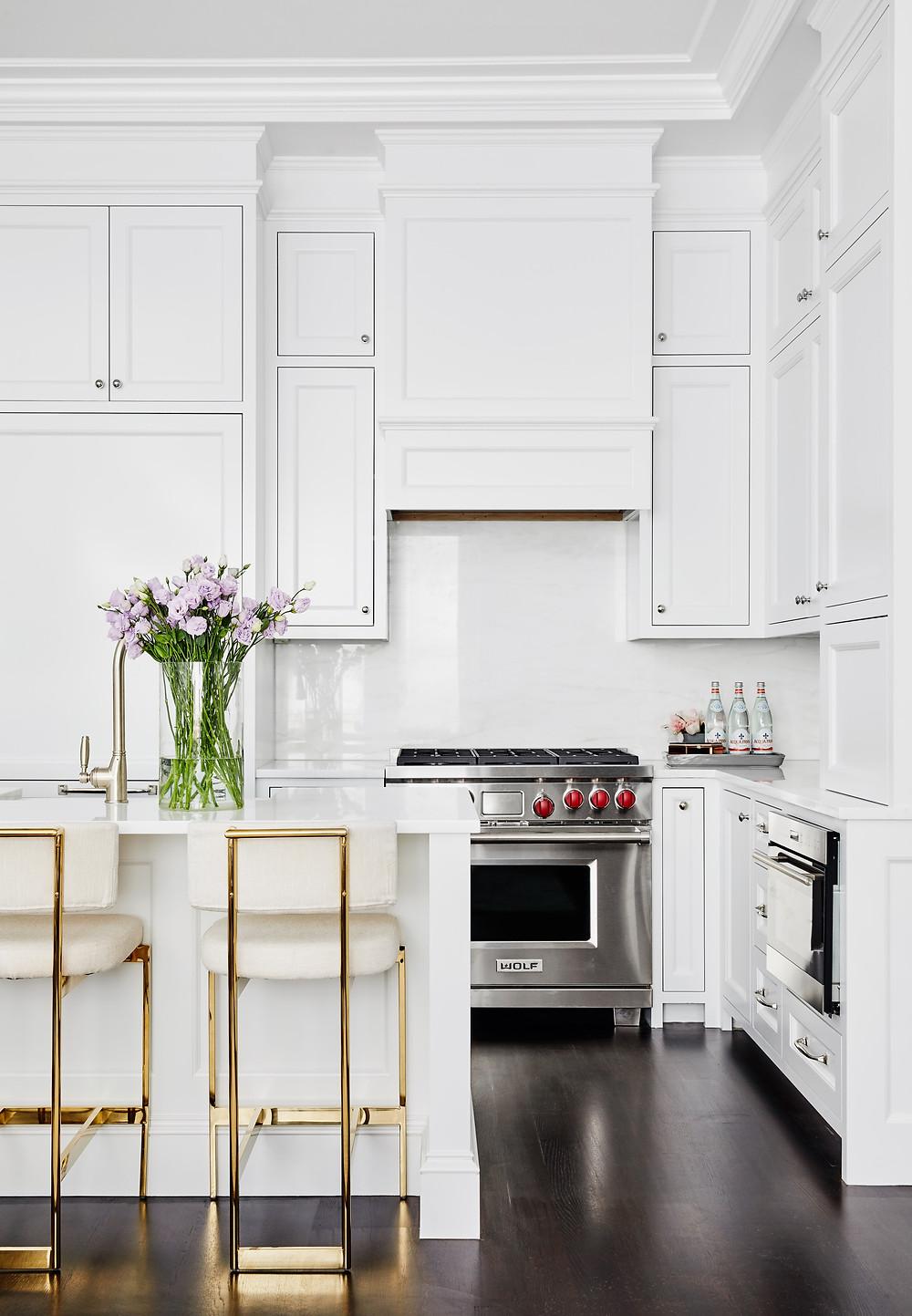 Kitchen, Lisa Tharp Design, Back Bay Brownstone, Historic Boston, White Cabinets