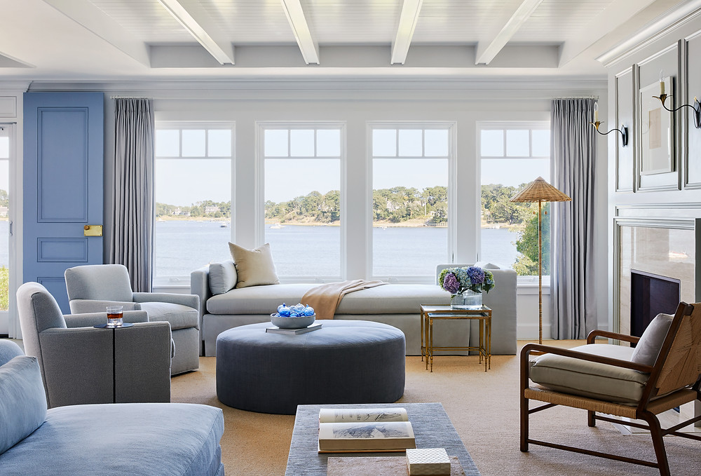 Interior by Lisa Tharp Design. Photo by Read McKendree. Living Room makeover, before after, interior design, boston interior designer, house by the sea, waterfront home, vacation home, beach home, blue, interior architecture, custom furnishings, millwork, upgrade, new construction, renovation, chatham, cape cod, nantucket, martha's vineyard, hamptons, boston designer, boston interior design