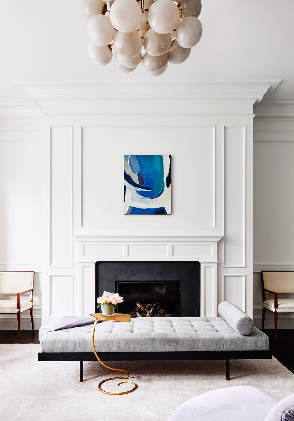 Art, Lisa Tharp Design, Living Room, Chandelier, Chair, Daybed, Drink Table