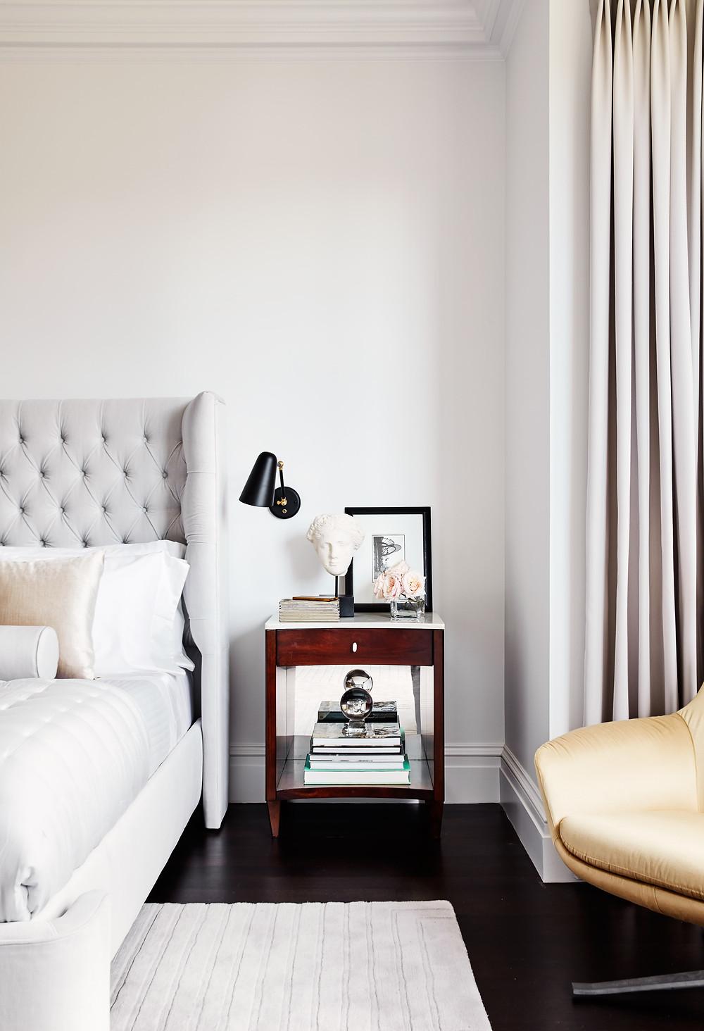 Master Bedroom, Lisa Tharp Design, Luxury, Bedroom, Upholstered bed, sconces, lounge, nightstand