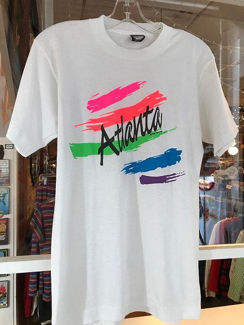 90's Atlanta neon vintage t shirt rainbow