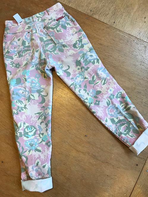 Vintage 80's floral print jeans