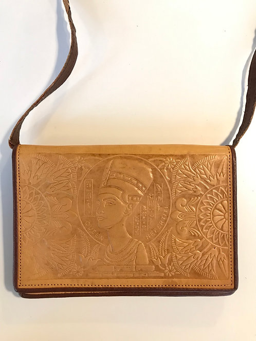 Amazing tooled leather clutch with strap