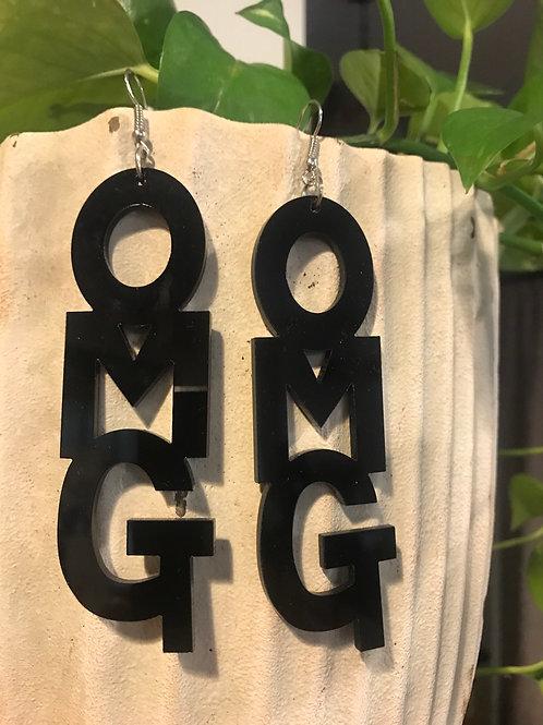 OMG earrings in black