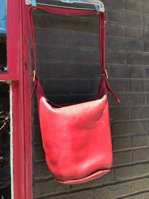 Red leather COACH bucket bag as-is