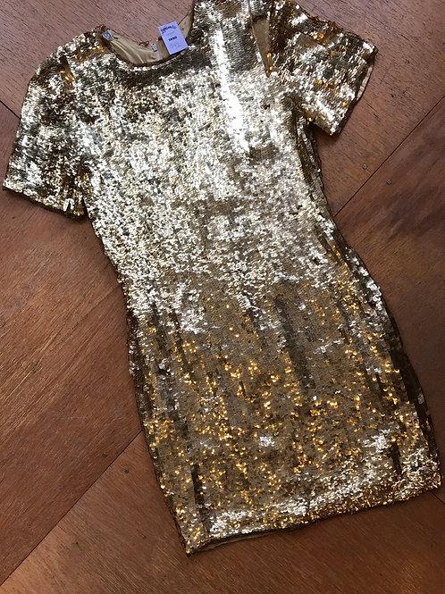 Vintage sequin gold dress