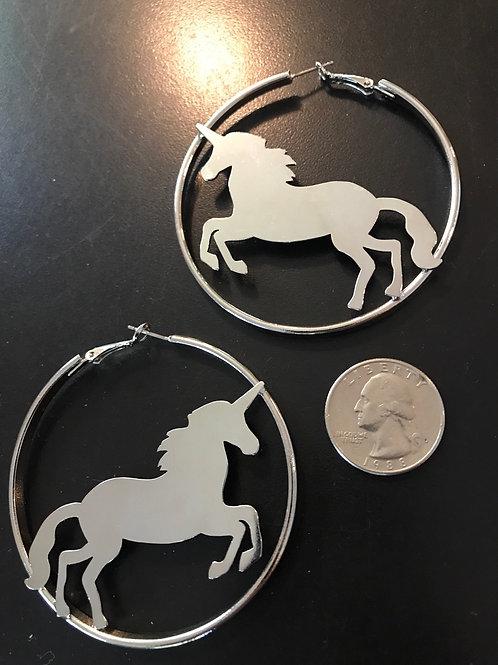 New silver tone unicorn hoop earrings