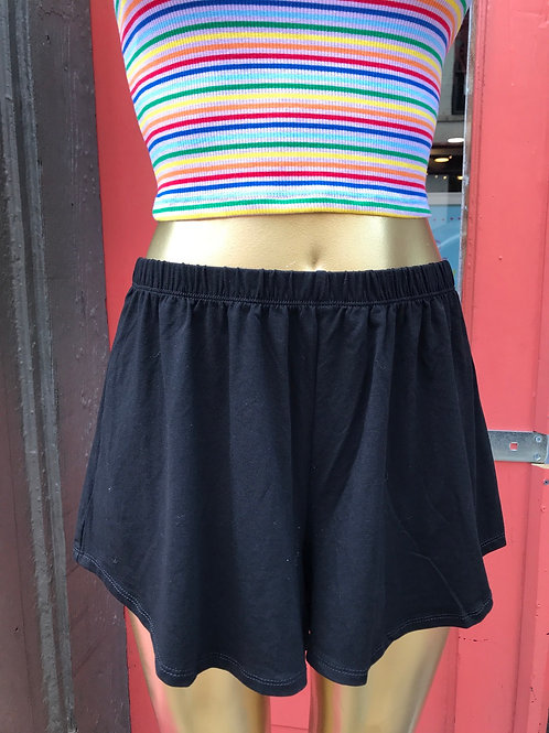 new black Flouncy cotton blend shorts