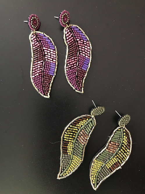 Seed bead leaf earrings