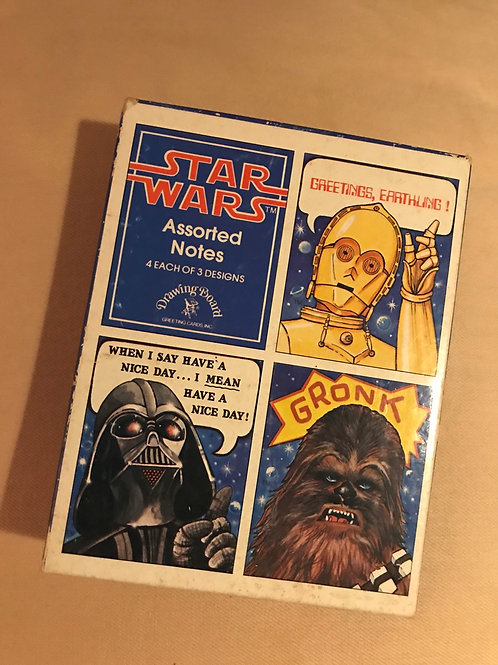 1977 Star Wars Darth Vader Chewbacca note cards C3PO