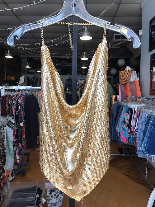 Gold or Silver metal mesh slinky top