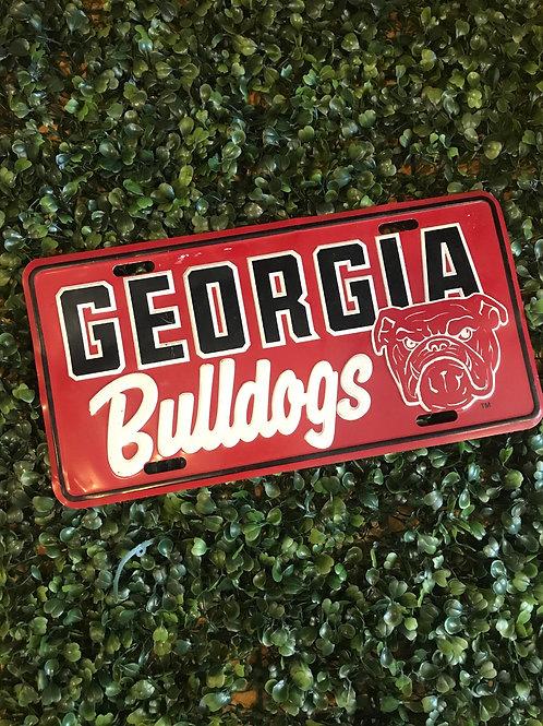 Ga bulldogs Metal license plate
