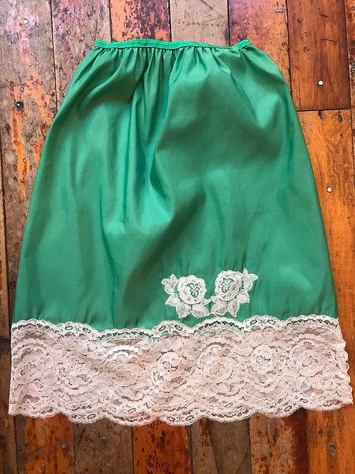 Vintage green nylon slip