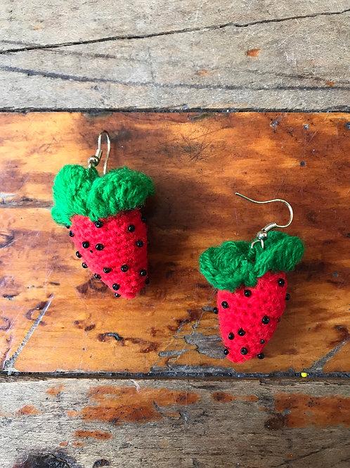 Knit strawberry earrings
