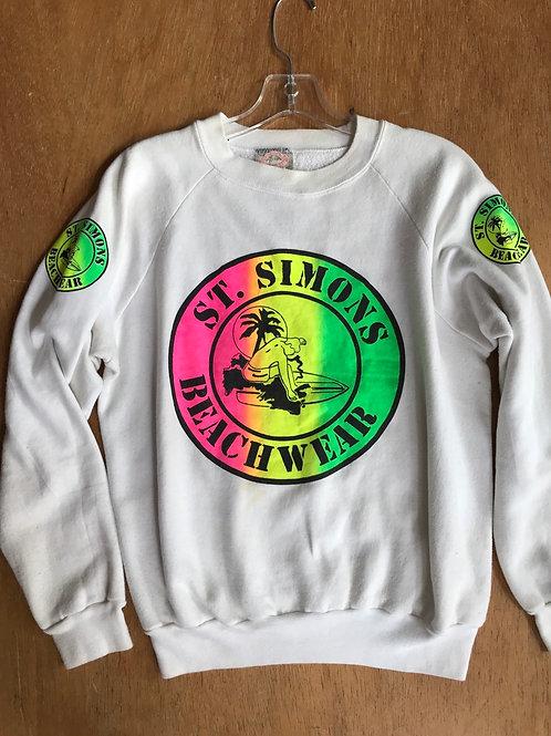 Vintage St Simons sweatshirt neon