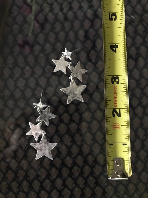 Silver tones star earrings