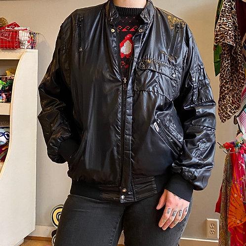 Vintage leather look-a-like windbreaker