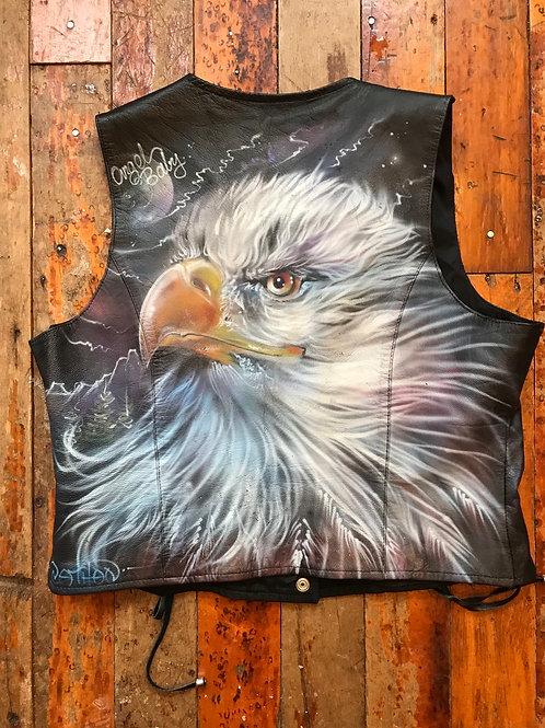 Eagle vintage airbrushed leather vest
