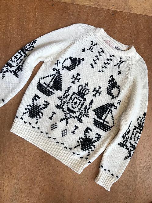 Adorable vintage acrylic sailboat crab sweater