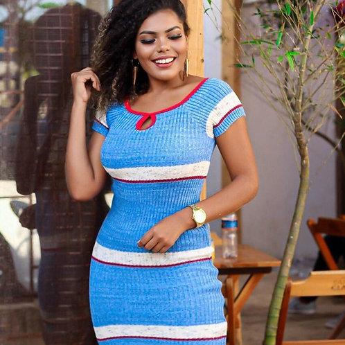 Vestido com Mangas, Azul, Branco e Vermelho
