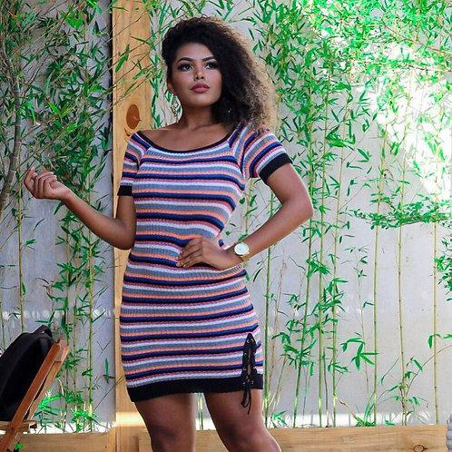 Vestido Canelado Colorido